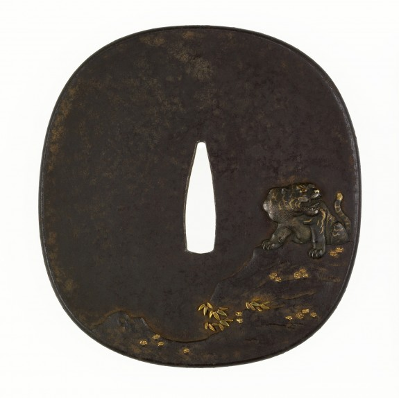 Tsuba with a Tiger on a Cliff