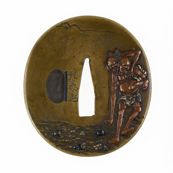 Tsuba with Legendary Figures by the Seashore