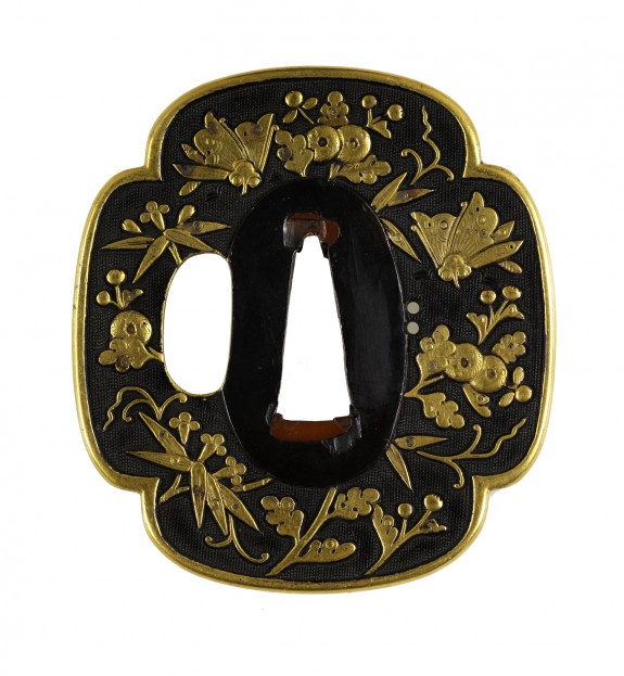 Tsuba with Flowers and Butterflies