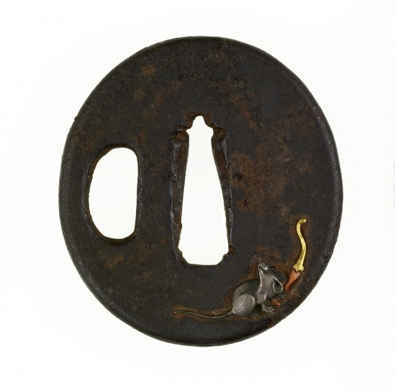 Tsuba with a Rat and a Chinese Hot Pepper