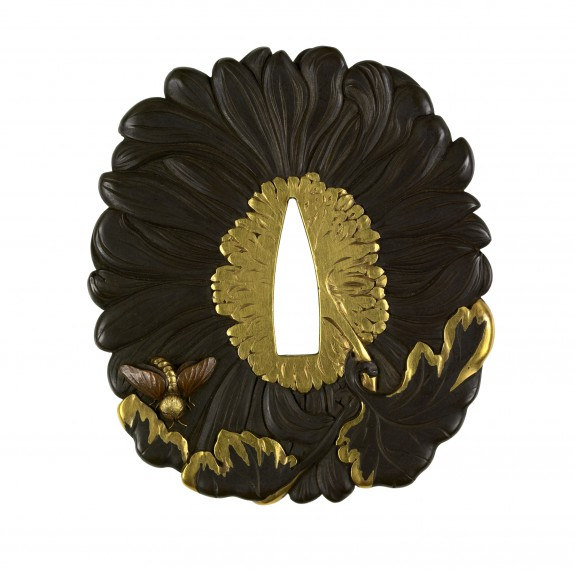 Tsuba with a Chrysanthemum Blossom and Two Bees