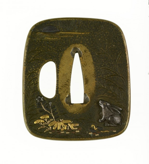 Tsuba with a Rabbit Viewing the Autumn Moon