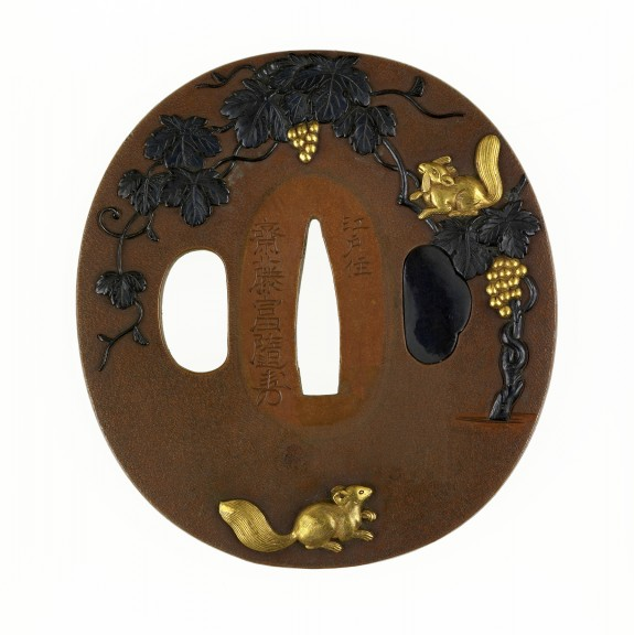 Tsuba with Grapevine and Squirrels