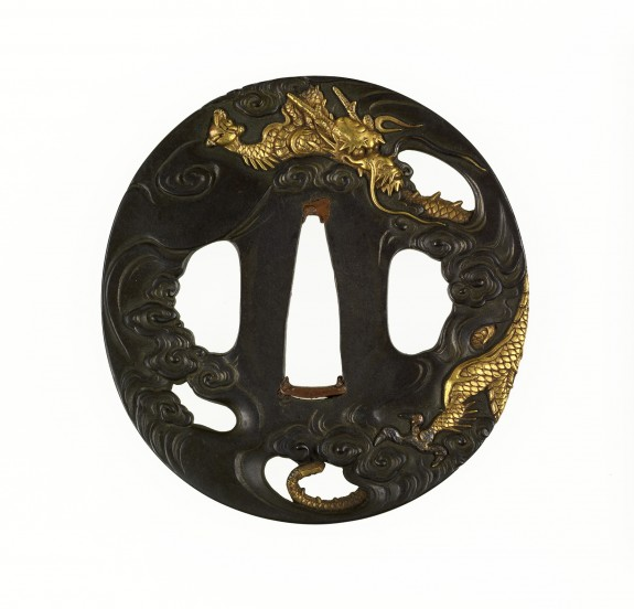 Tsuba with a Dragon in Clouds
