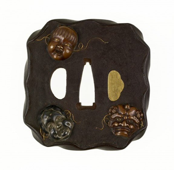 Tsuba with Masks of Noh Characters: Shojo, Okame and Oni