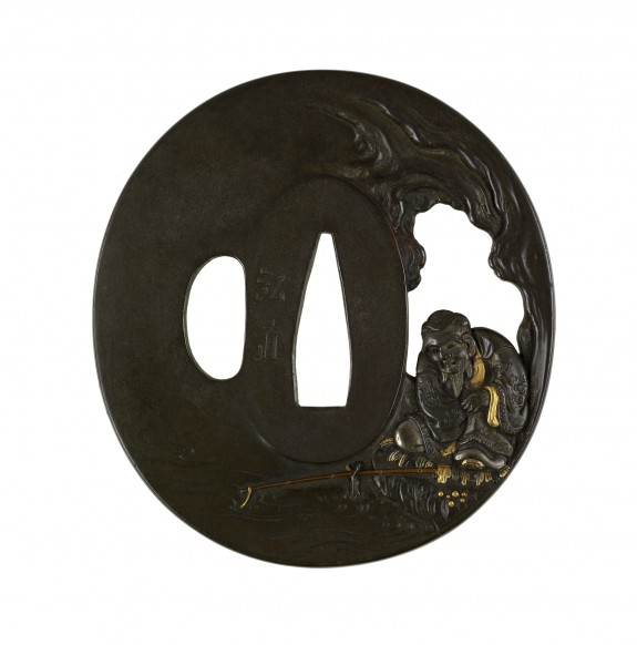 Tsuba with Taikobo (Ch. Tai Gongwong) Fishing without Bait