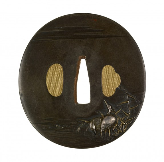 Tsuba with Two Cranes among Reeds