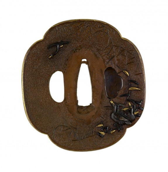 Tsuba with Geese and Autumn Reeds