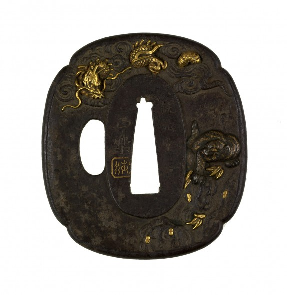 Tsuba with a Tiger and a Dragon
