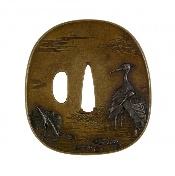Tsuba with Herons in a Lotus Pond
