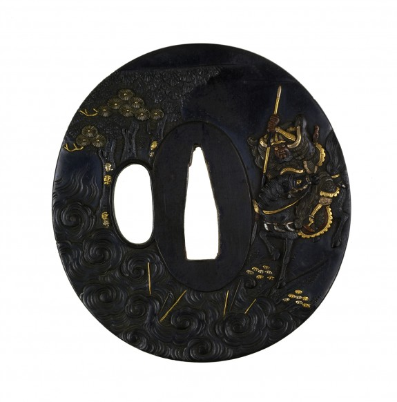 Tsuba with a Kuanyu Preparing to Throw a Spear