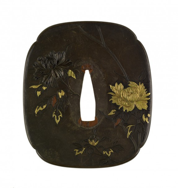 Tsuba with Peonies and Magnolia