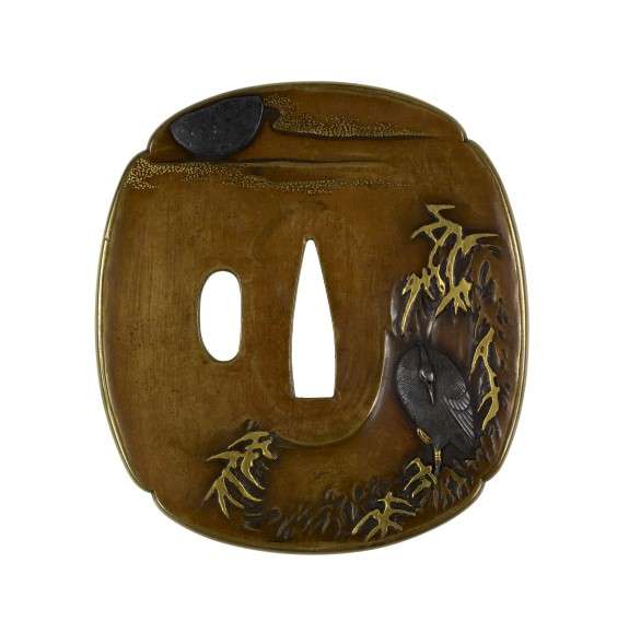 Tsuba with Heron in Marsh Grasses
