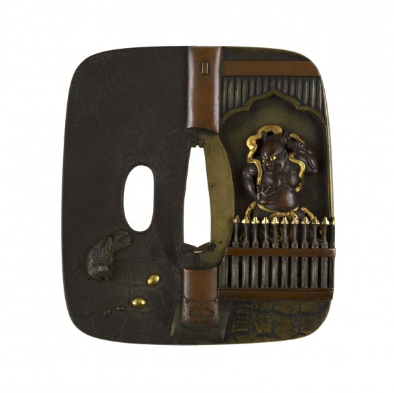 Tsuba with a Temple Guardian Statue