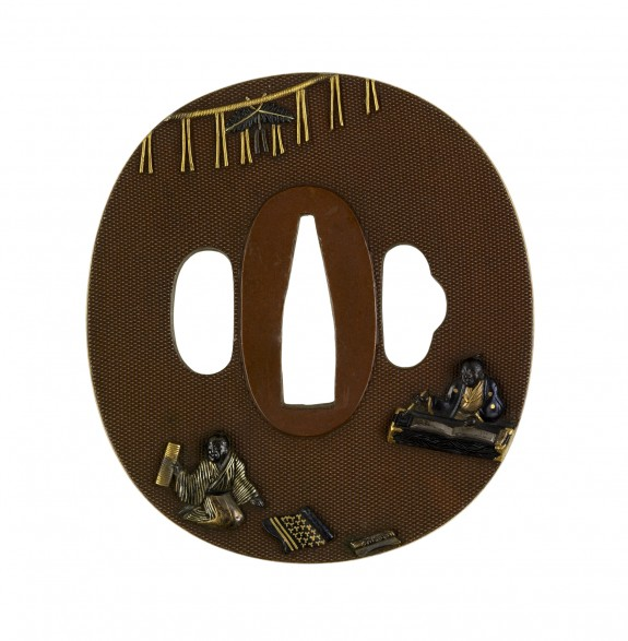 Tsuba with Poetry Composition at New Year's