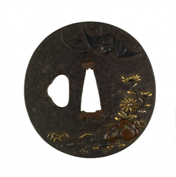 Tsuba with a Fallen Grave Maker