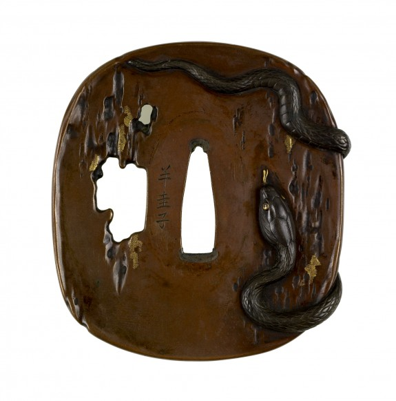 Tsuba with a Snake on Tree Trunk