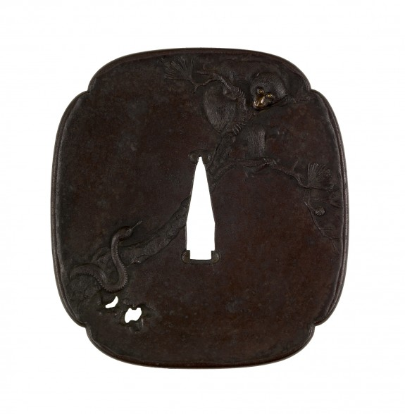 Tsuba with a Snake and a Monkey on a Pine Branch