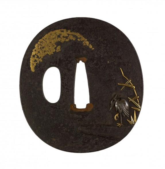 Tsuba with a Heron Perched on a Boat under a Full Moon