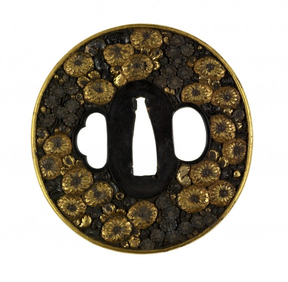 Tsuba with Chrysanthemum Blossoms
