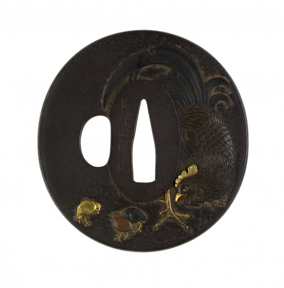 Tsuba with Rooster, Hen and Chicks