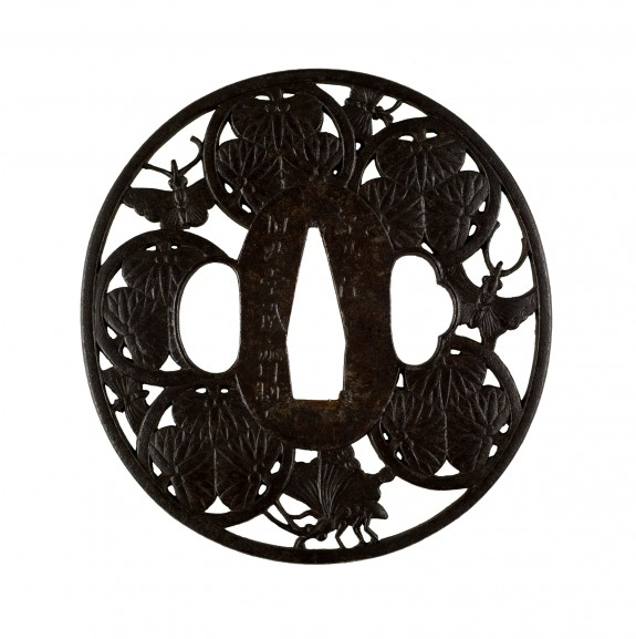 Tsuba with Hollyhock Crests (
