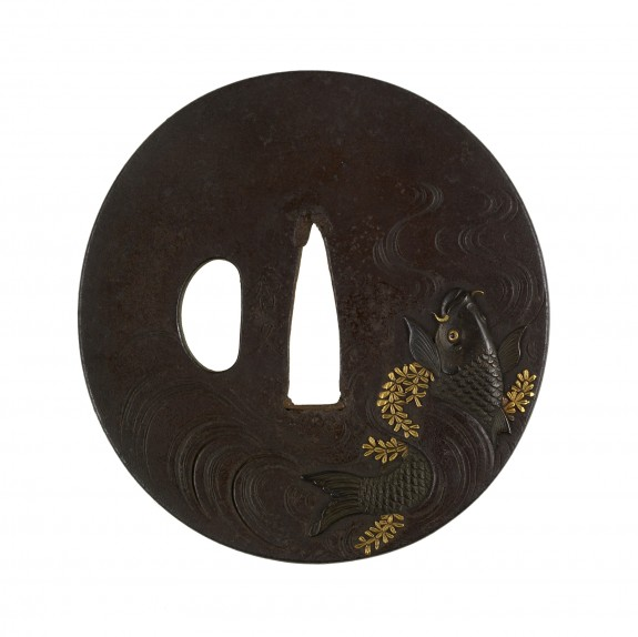 Tsuba with Carp and Water Milfoil