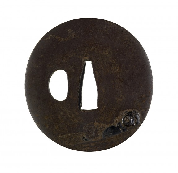 Tsuba with Hotei and His Boy Attendant in a Boat under a Full Moon