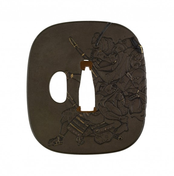 Tsuba with Three Samurai Attacking a Courtier