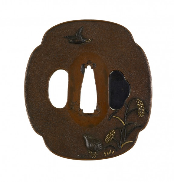 Tsuba with Quail, Sparrow and Millet
