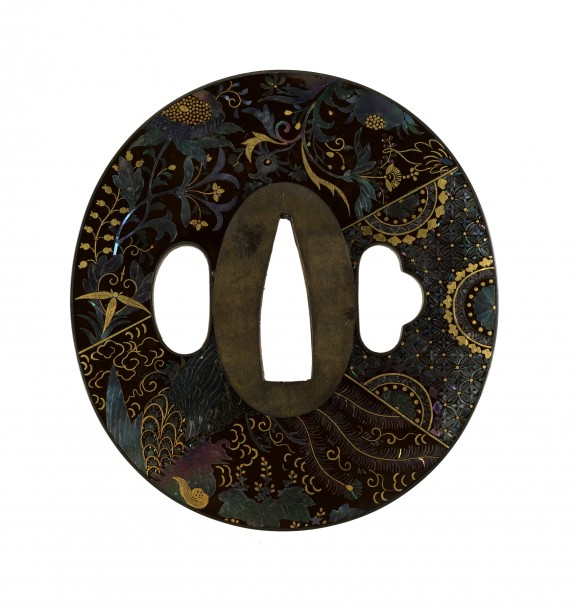 Tsuba with Floral Design of Overlapping Textiles (
