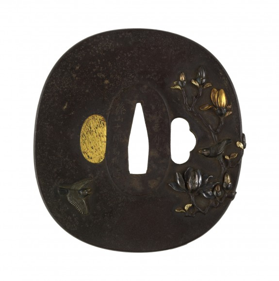 Tsuba with Blossoming Magnolia with Sparrows