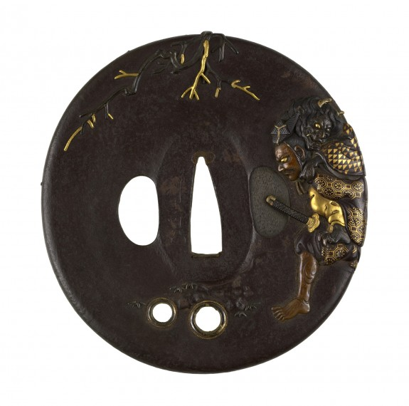 Tsuba with Ômori Hikohichi Crossing a Stream with a Demon