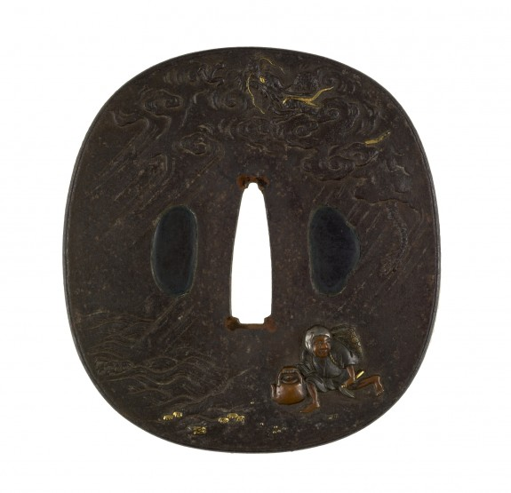 Tsuba with a Tea-leaf Harvester Caught in a Rainstorm