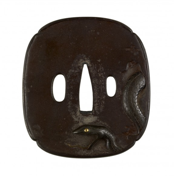 Tsuba with a Snake and a Rat