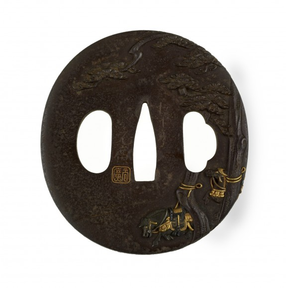 Tsuba with Horses and Court Attendants