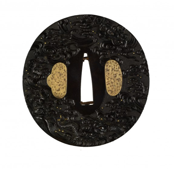 Tsuba with a Dragon Emerging from Waves