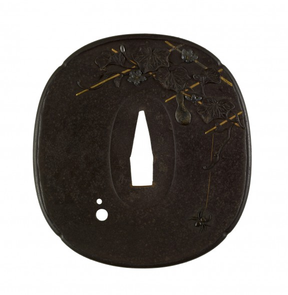 Tsuba with a Spider on a Gourd Vine Trellis
