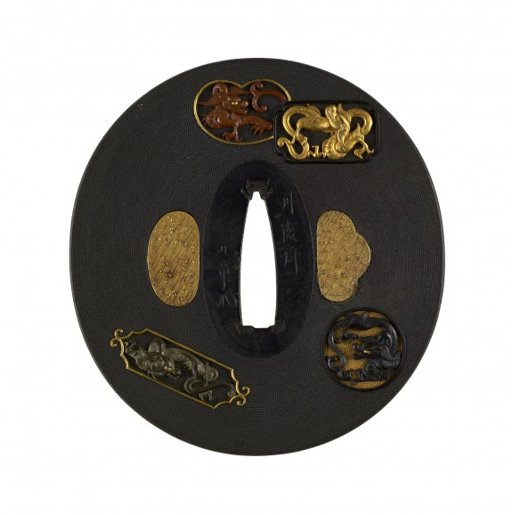 Tsuba with Dragons in Cartouches