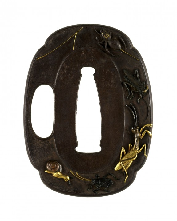 Tsuba with Snail and Insects