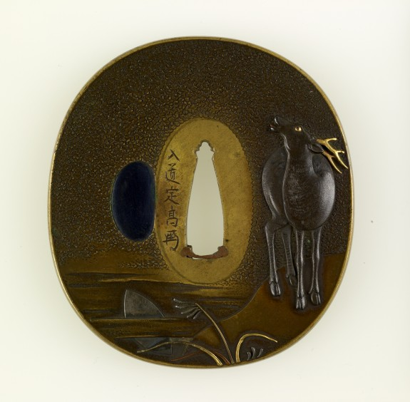 Tsuba with Stag Calling under the Autumn Moon