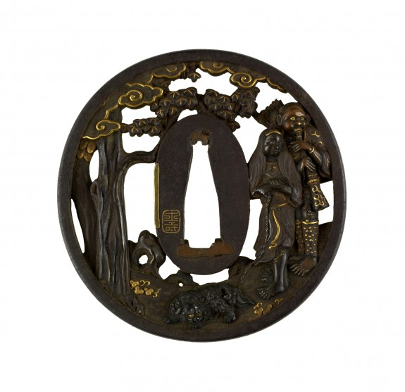 Tsuba with Two Figures with a Chinese Lion-Dog