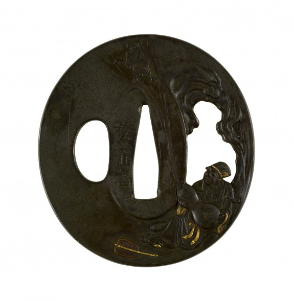 Tsuba with Chokaro and Mule Leaving the Gourd