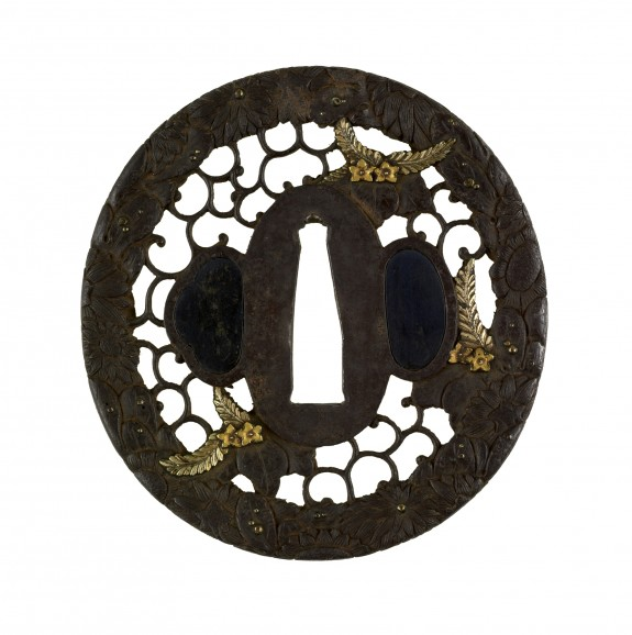 Tsuba with Chrysanthemums and Paulownia