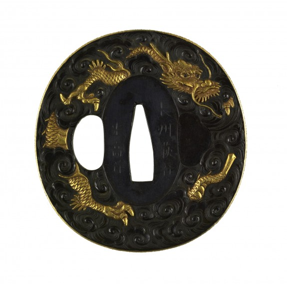 Tsuba with Dragon in Clouds