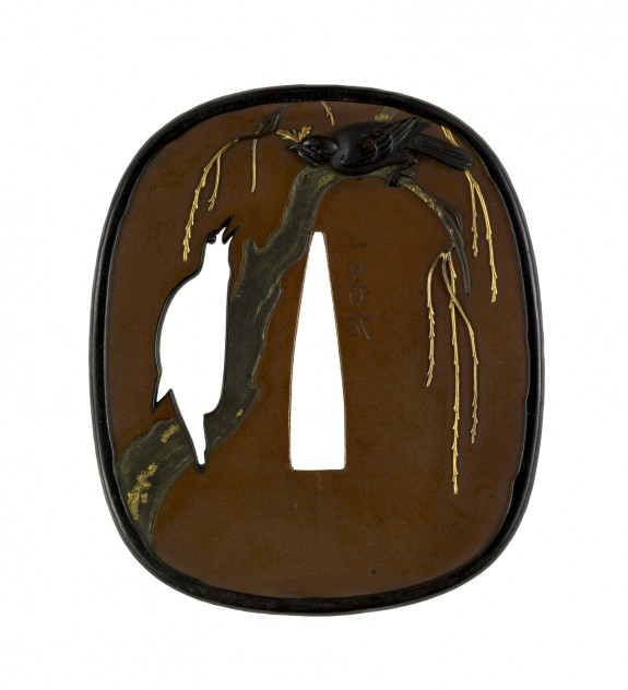 Tsuba with Birds in a Spring Willow