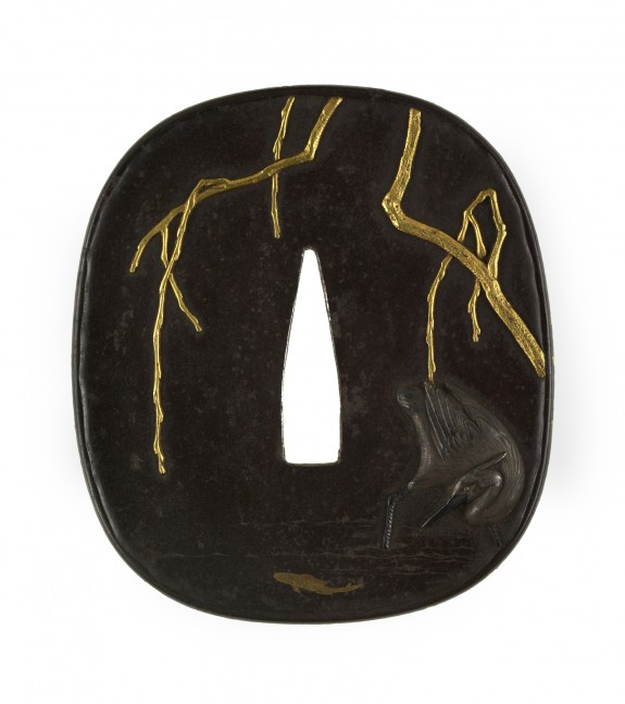 Tsuba with a Heron under a Winter Willow
