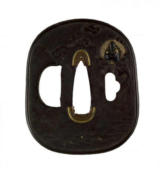 Tsuba with Fukurokuju in the Moon