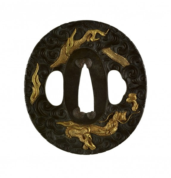 Tsuba with a Dragon among Clouds
