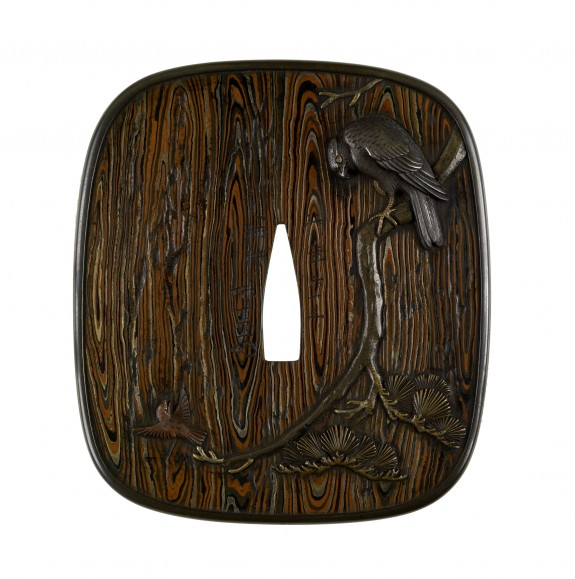 Tsuba with a Hawk and a Sparrow